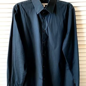 Express 1MX Slim/Fitted Solid Dress Shirt Black